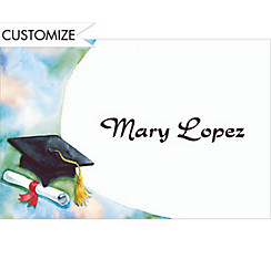 Black Mortarboard and Swoosh Custom Thank You Notes