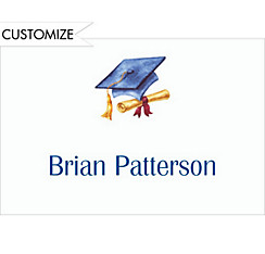 Custom Blue Cap & Diploma Graduation Thank You Notes