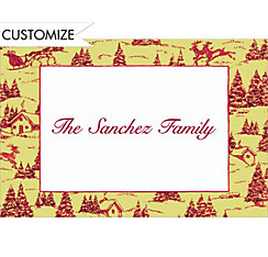Holiday Toile Custom Christmas Thank You Note