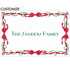 Red and Green Ribbon Border Custom Christmas Thank You Note