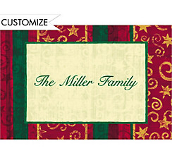 Blocky Stripes and Spirals Custom Christmas Thank You Note