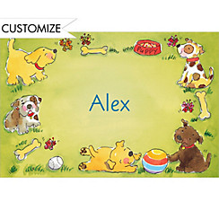 Playing Puppies Custom Thank You Note