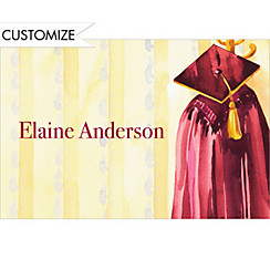 Custom Burgundy Gown Thank You Notes