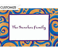Blue & Gold Swirls Custom Thank You Note