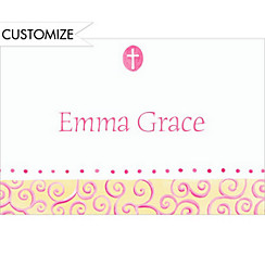 Tiny Pink Cross with Swirls Custom Thank You Note
