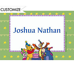 Pooh with Friends 1st Birthday Custom Thank You Note
