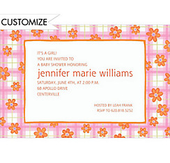Pink Plaid with Daisies Custom Baby Shower Invitation