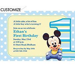 Mickey Mouse 1st Birthday Custom Invitation