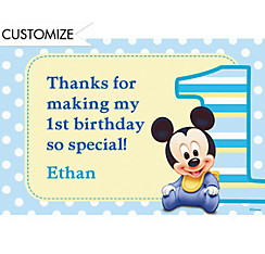 Mickey Mouse 1st Birthday Custom Thank You Note