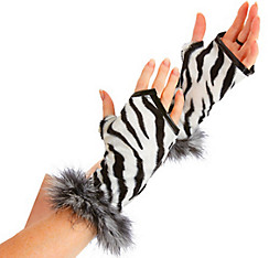 Zebra Print Fingerless Gloves