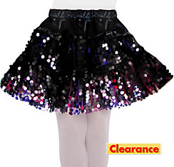Girls Black Sequin Skirt
