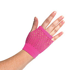 Short Neon Pink Fishnet Glove