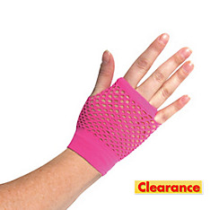 Short Neon Pink Fishnet Glove