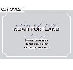 Custom Gray Formal Corners Graduation Announcements