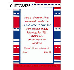 Custom American Summer Stripes Welcome Home Invitations