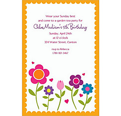 Pretty Flowers with Scallop Custom Invitation