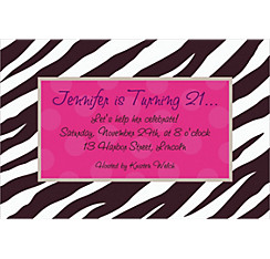 Zebra Party Custom Invitation