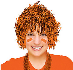 Orange Tinsel Wig