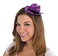 Purple Glitter Mini Cowboy Hat