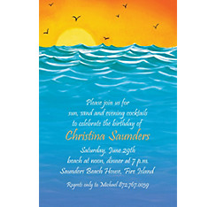 Painterly Sunset View Custom Invitation