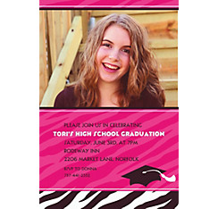 Custom Zebra Party Graduation Photo Invitations