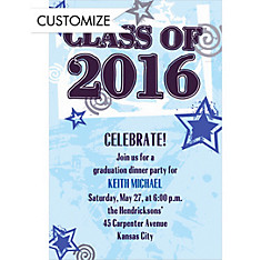 Blue Class Year with Stars Custom Graduation Invitation