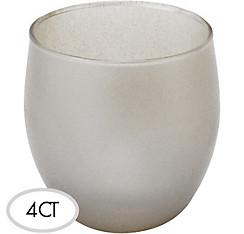 Silver Glass Votive 4ct