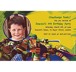 Teenage Mutant Ninja Turtles Custom Photo Invitation