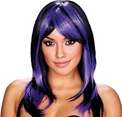 Brianna Black and Purple Wig