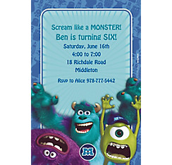 Monsters University Custom Invitation