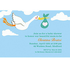 Stork and Baby Bundle Custom Invitation