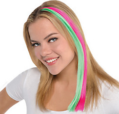 Black Light Neon Pink & Green Hair Extension