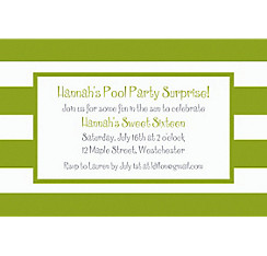 Kiwi Cabana Stripe Custom Invitation