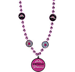 Birthday Princess Pendant Bead Necklace