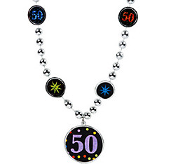 50th Birthday Pendant Bead Necklace