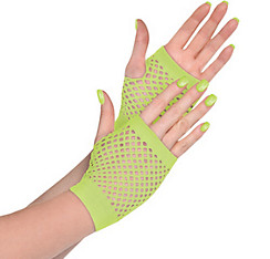 Neon Green Fishnet Glovelettes