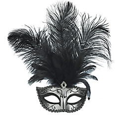 Silver Feather Dominance Masquerade Mask