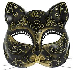 Glitter Gold Scroll Cat Mask