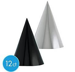 Metallic Black & White Party Hats 12ct