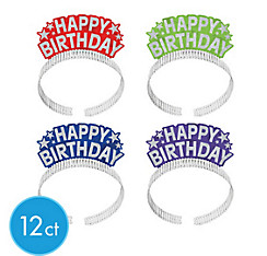 Glitter Rainbow Happy Birthday Tiara Headbands 12ct
