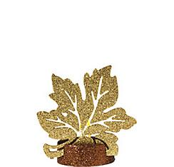 Glitter Gold Maple Leaf Flameless LED Candle
