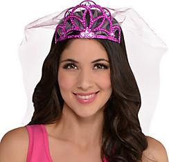 Pink Rhinestone Tiara with Veil - Sassy Bride