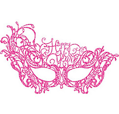Pink Lace Happy New Year Masquerade Mask