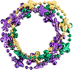 Fleur-de-Lis Mardi Gras Bead Bracelets 4ct