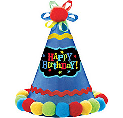 Blue Pom-Pom Happy Birthday Party Hat