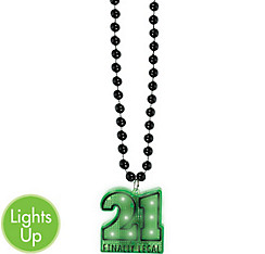 Light-Up 21st Birthday Pendant Bead Necklace