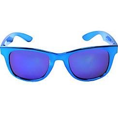 Metallic Blue Mirrored Sunglasses