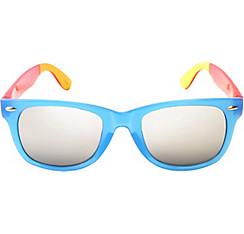 Blue Color Block Mirrored Sunglasses