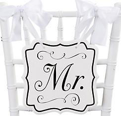 White Mr. Wedding Chair Sign