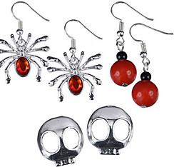 Skull Face & Red Spider Halloween Earrings Set 6pc